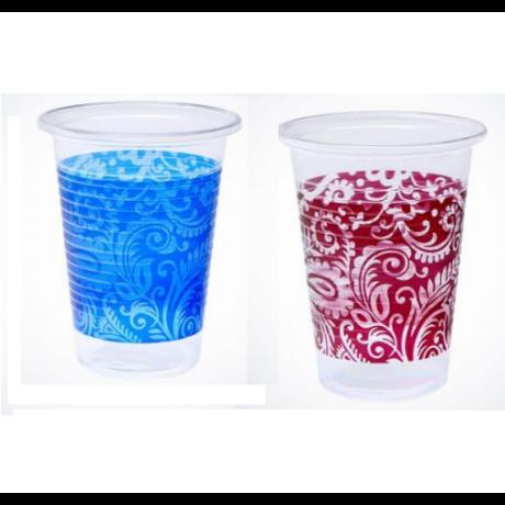 Keleti mintás műanyag pohár, 2 dl - kék és bordó színekben 50 db