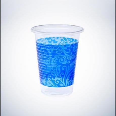 Keleti mintás műanyag pohár 2 dl, kék színben - 50 db