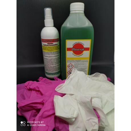 Clarasept fertőtlenítő pumpás és utántöltő színes nitril védőkesztyű