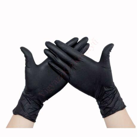 Fekete latex, púdermentes kesztyű - 100 db