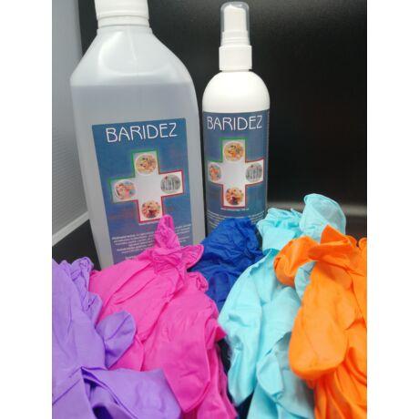 Baridez fertőtlenítő 250 ml-es pumpás és 1000 ml-es utántöltő színes nitril védőkesztyű
