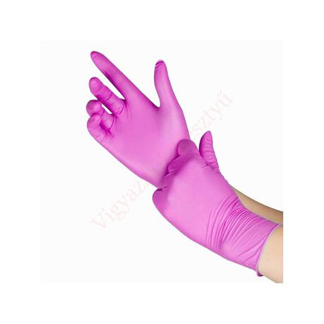 100 db magenta színű nitril védőkesztyxű