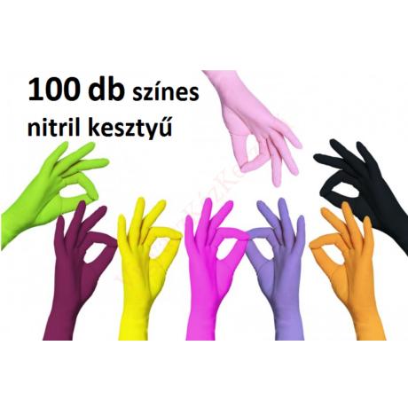 100 db L méretű színes nitril védőkesztyű